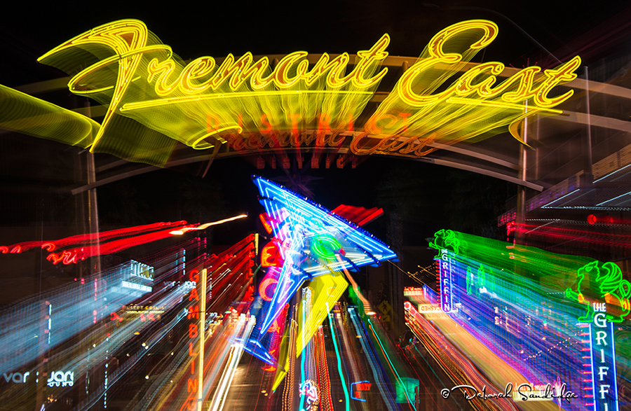 Zoom of Fremont East sign in downtown Las Vegas
