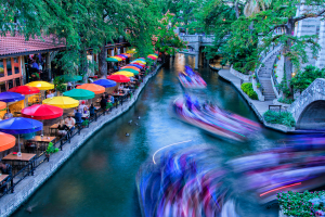 Long exposure of San Antonio River Boats